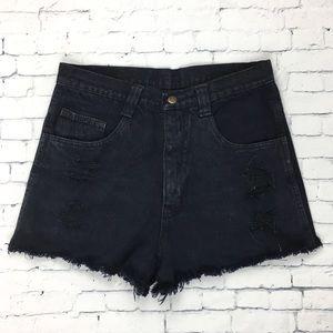 Tommy Hilfiger Cut Off Distressed Shorts Black